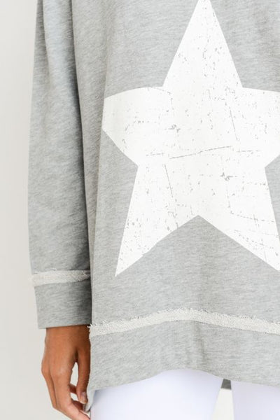 Antiqued Star Longline V-Neck Sweatshirt