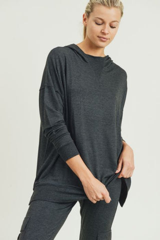 Gray Oversized Hoodie Brushed Pullover with Drop Sleeves