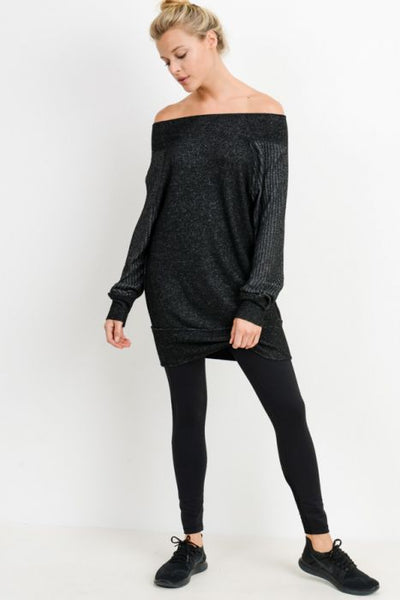 Black Off-Shoulder Mixed Hacci Sweater Dress