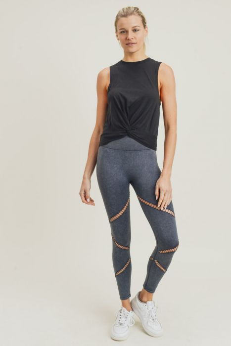 Zig Zag Perforated Mineral Wash Seamless Leggings