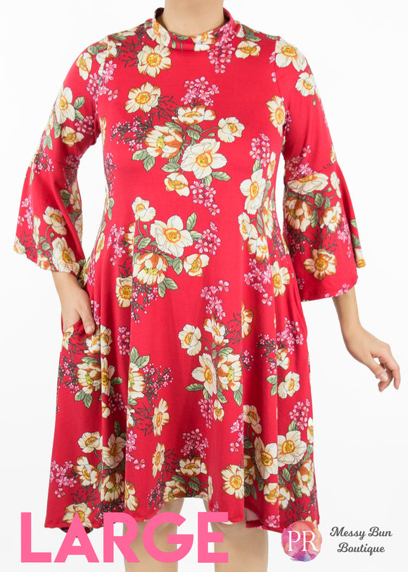Large Red Floral Paisley Raye Lotus Dress