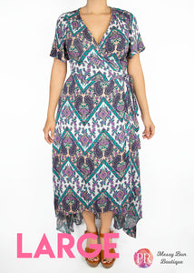 Large Blue and Purple Patterned Paisley Raye Primrose Dress
