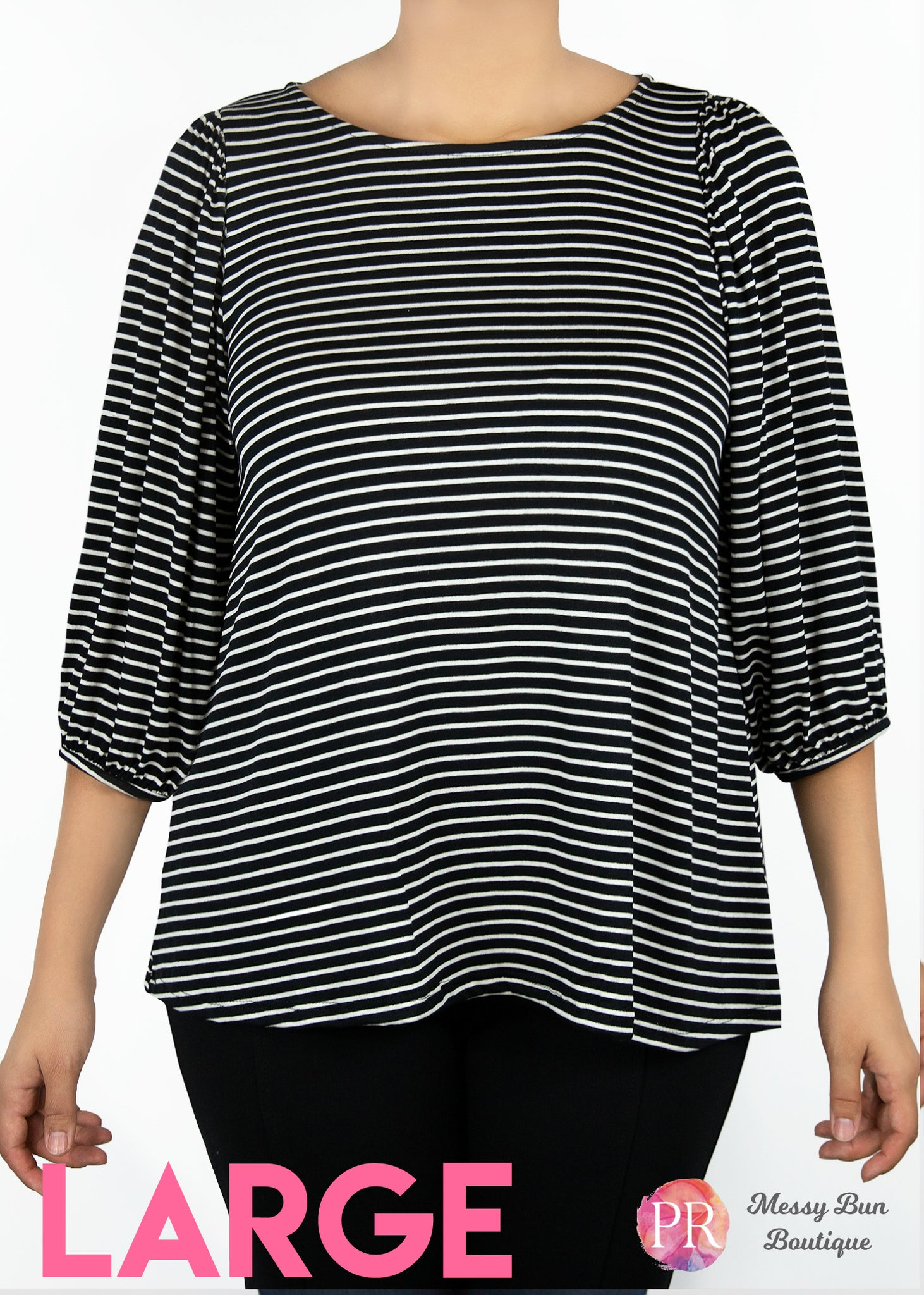 Large Black and White Striped Paisley Raye Violet Top