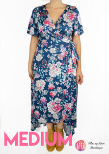 Medium Blue Floral Paisley Raye Primrose Dress