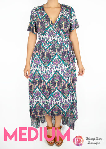 Medium Purple and Blue Patterned Paisley Raye Primrose Dress