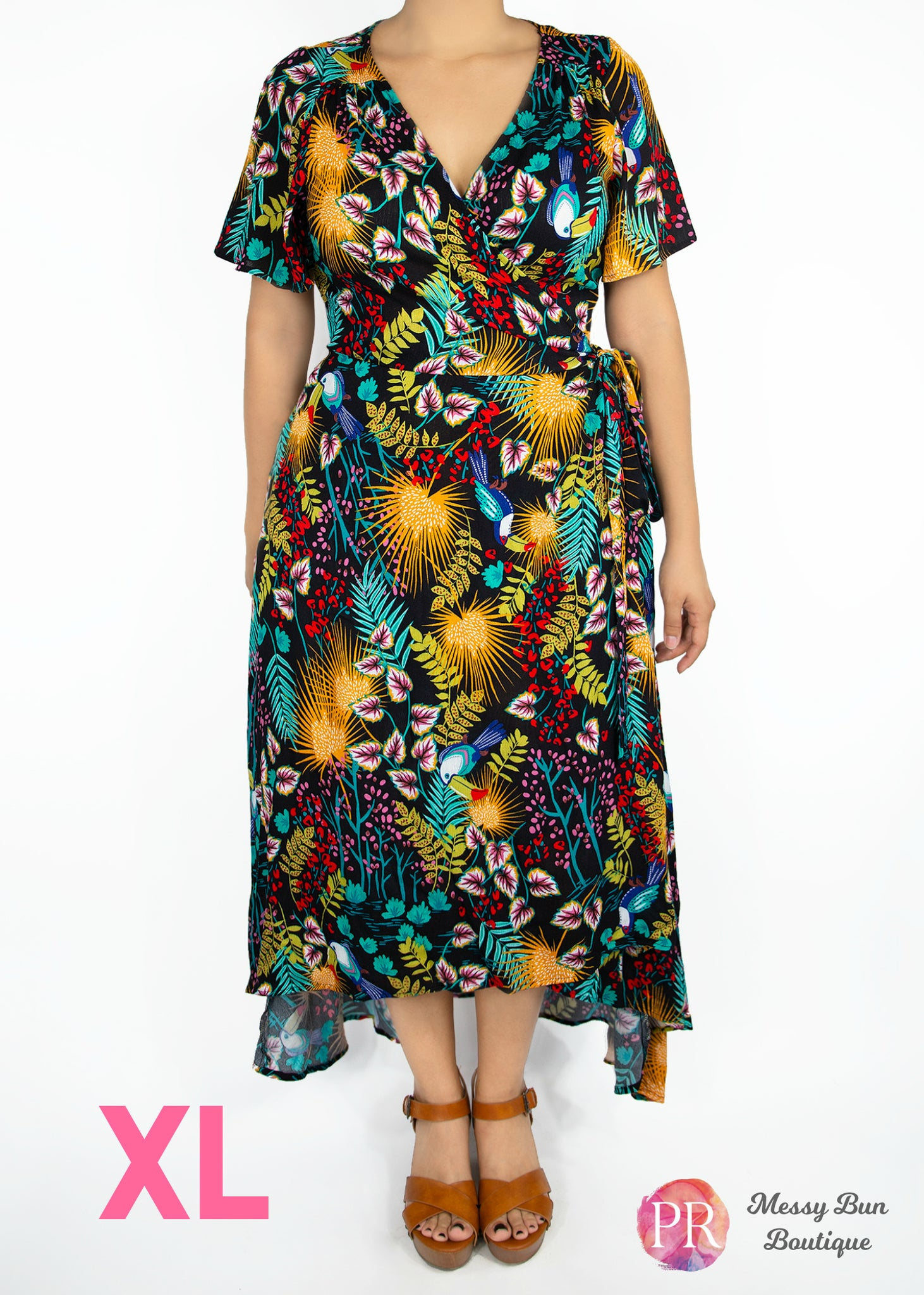 XL Black Floral Paisley Raye Primrose Dress