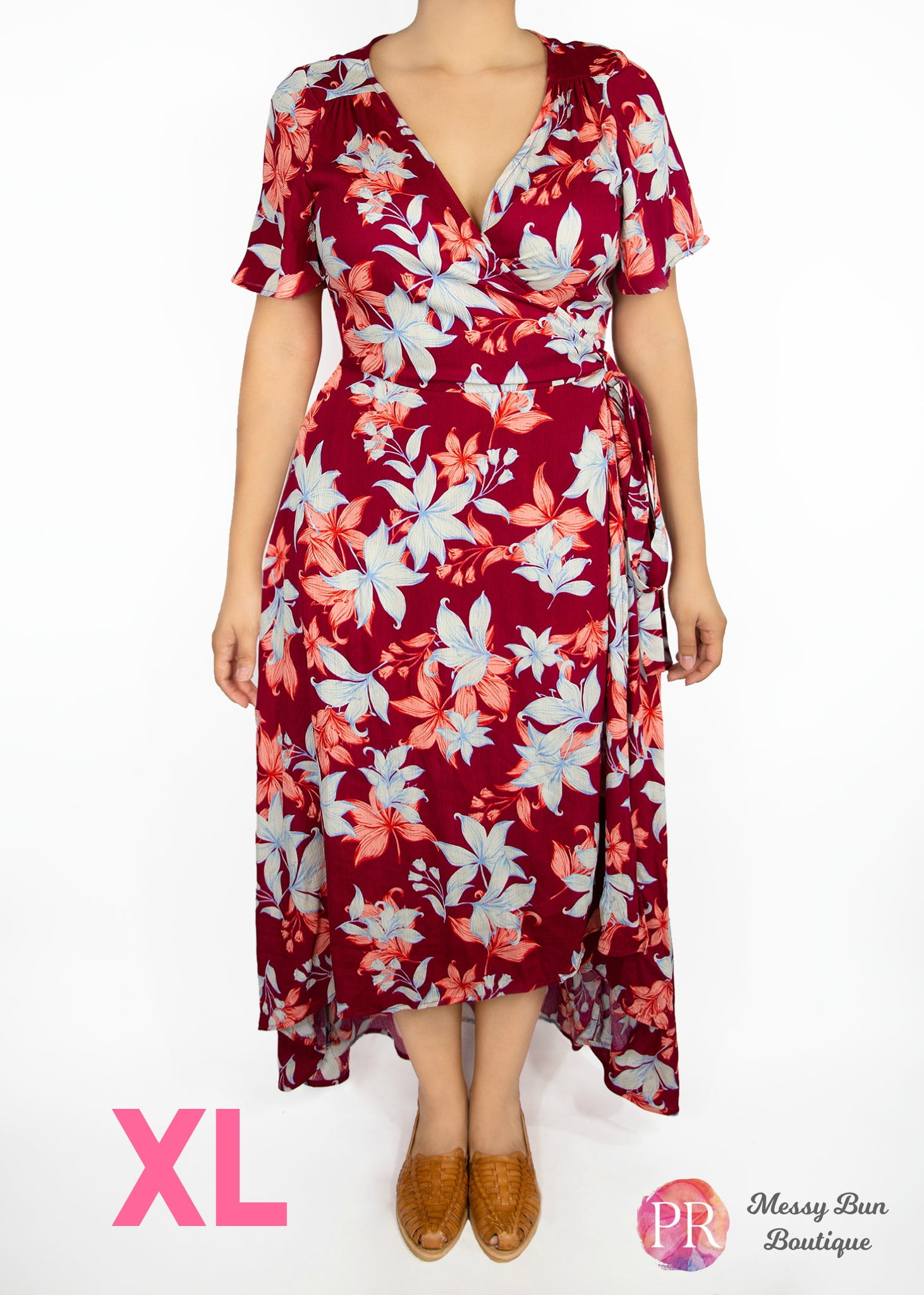 XL Rust Floral Paisley Raye Primrose Dress