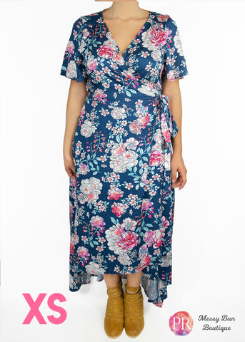 XS Blue Floral Paisley Raye Primrose Dress