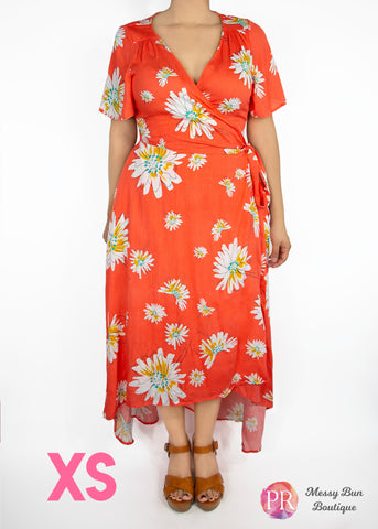 XS Orange Floral Paisley Raye Primrose Dress