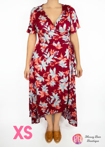 XS Rust Floral Patterned Paisley Raye Primrose Dress