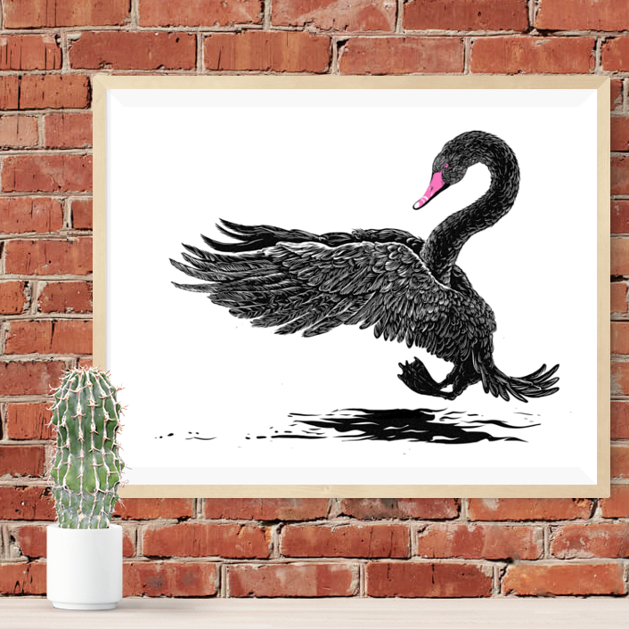 Black Swan I - Silkscreen Art Print - 16 x 20