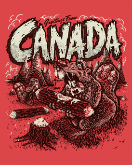 Greeting from Canada print- 8 x 10- Red