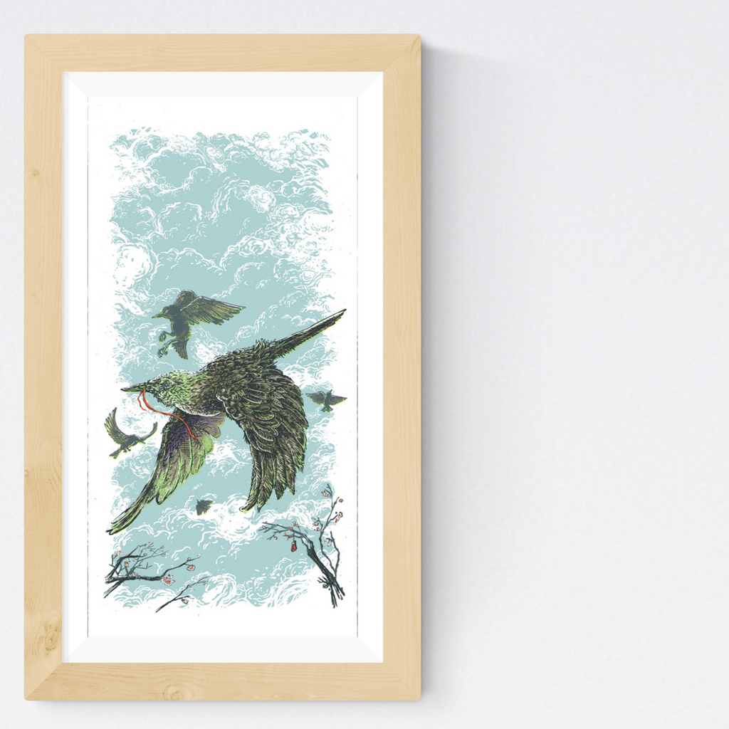 Some Starlings - 10 x 20 Silkscreen Print