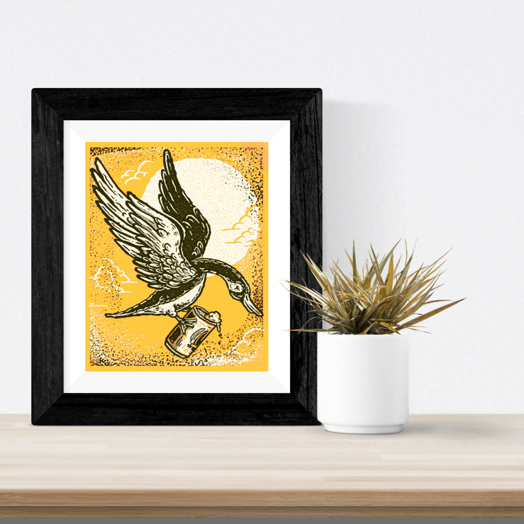 Canadian goose and Beer Print- Orange