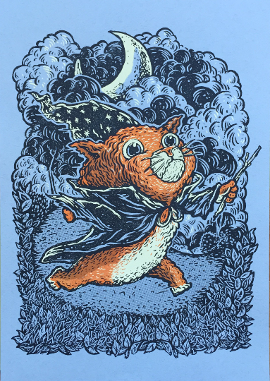 Cat Wizard - Silkscreen Print