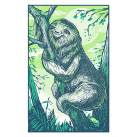 Happy Sloth - 13 x 19 - Silkscreen Print