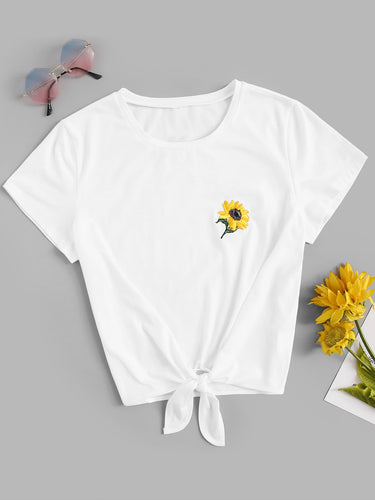 Knot Front Flower Embroidered Tee