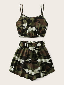Camo Print Crop Cami Top With Shorts