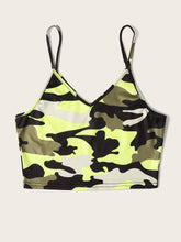 Load image into Gallery viewer, Camo Crop Cami Top