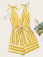 Load image into Gallery viewer, Striped Surplice Belted Cami Playsuit