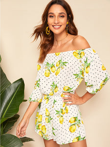 Lemon And Dot Lantern Sleeve Off Shoulder Romper