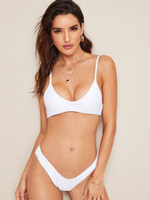 Load image into Gallery viewer, Spaghetti Strap Top With High Cut Bikini Set