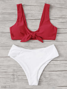 Knot Front Top With Panty Bikini Set