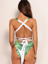 Load image into Gallery viewer, Tropical Print One Piece Swimsuit