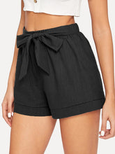 Load image into Gallery viewer, Self Belted Elastic Waist Shorts