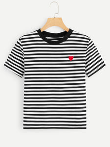 Heart Pattern Striped Tee