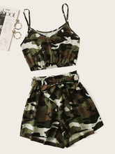 Load image into Gallery viewer, Camo Print Crop Cami Top With Shorts