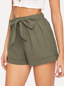 Self Belted Elastic Waist Shorts