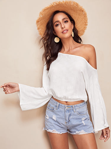 Asymmetrical Neck Bell Sleeve Elastic Hem Top