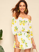 Load image into Gallery viewer, Lemon And Dot Lantern Sleeve Off Shoulder Romper