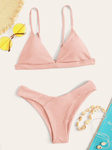 Triangle Top With High Leg Bikini Set