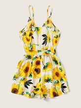 Load image into Gallery viewer, Sunflower Print Belted Romper