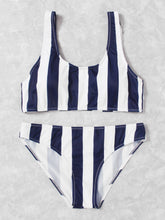 Load image into Gallery viewer, Striped Scoop Neck Top With Seam Bikini Set