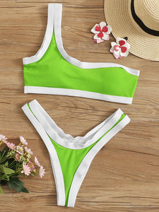 Single Shoulder Top With High Cut Bikini