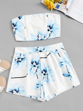 Load image into Gallery viewer, Floral Print Bandeau  With Shorts