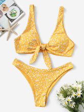 Load image into Gallery viewer, Calico Print Knot Front Bikini Set