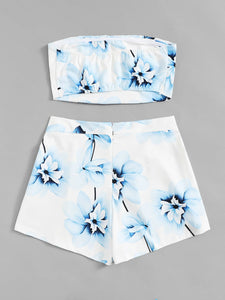 Floral Print Bandeau  With Shorts
