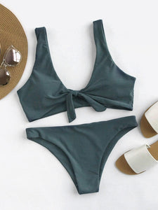 Bow Tie Top With High Leg Bikini Set
