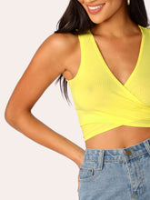 Load image into Gallery viewer, Ribbed Knit Tie Crop Top