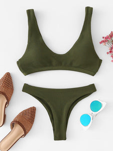 Plunge Top With High Leg Bikini Set