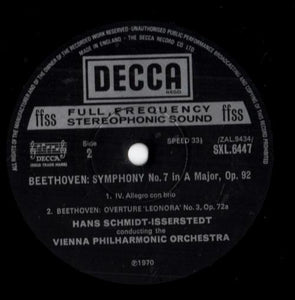 Beethoven* - Hans Schmidt-Isserstedt, Vienna Philharmonic Orchestra* ‎– Symphony No. 7 In A Major - Overture, Leonora No. 3