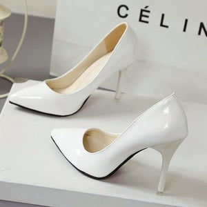 Toe Pumps Patent Leather High Heels - Online Women Store