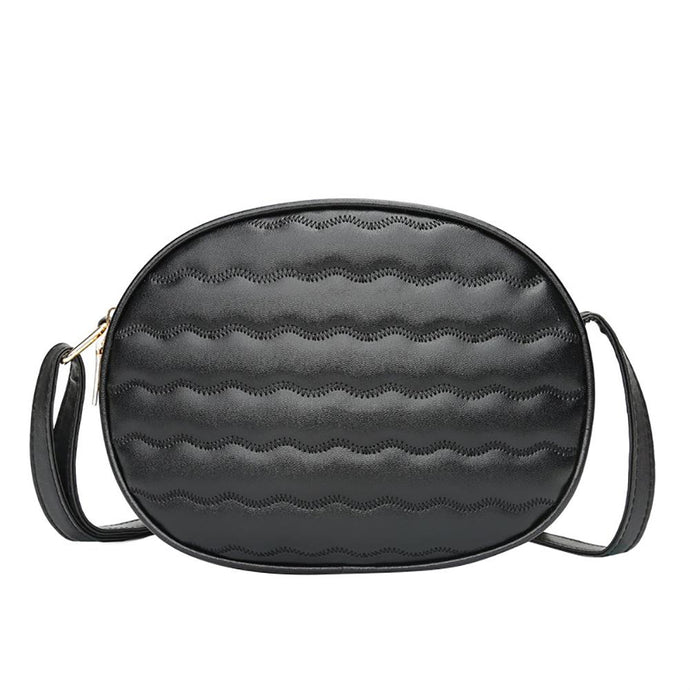 Vintage Wavy Solid Shoulder Bag - Online Women Store