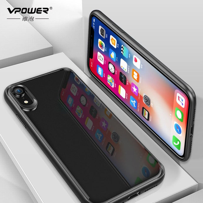 VPOWER For 2018 iPhone XR XS Max 5.8 6.1 case, Crystal Clear Phone protection soft + hard hybrid case for iphone xs max cover - Online Women Store