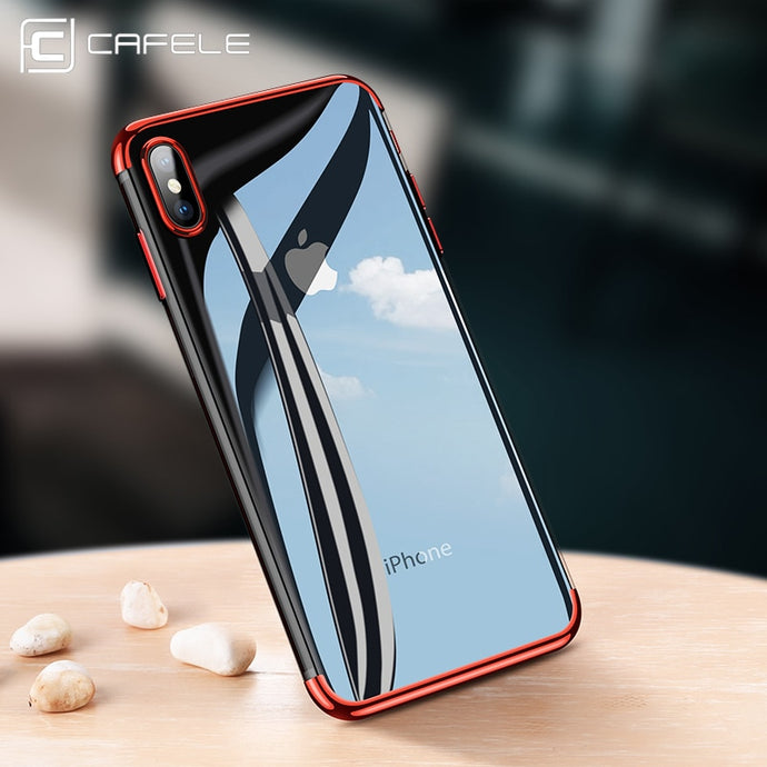 CAFELE soft TPU case for iPhone X Xr Xs Max cases ultra thin transparent plating shining case for iPhone Xs Mixed silicon cover - Online Women Store