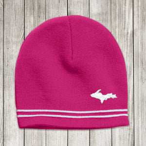 Pink Knit Beanie with U.P. Embroidered